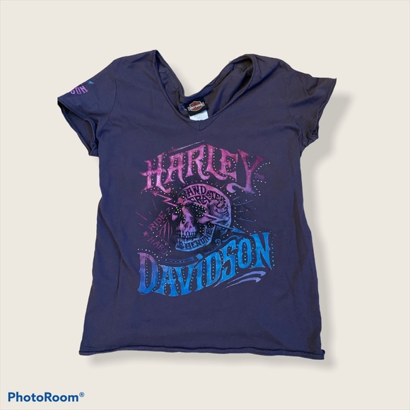 Harley Davidson Grey Skull T-shirt with Gems